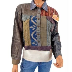 Sacred Threads Patchwork Colorful Boho Jacket  S